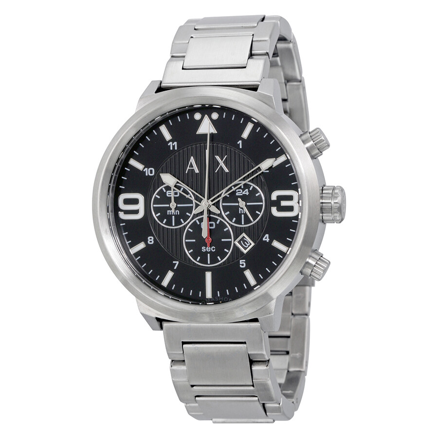 Armani exchange atlc black dial men 39 s chronograph stainless steel watch ax1369 armani exchange for Armani exchange watches