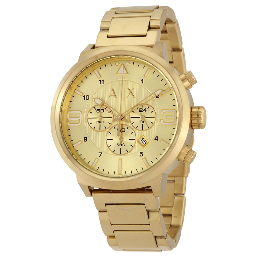 armani exchange atlc gold tone sunray s