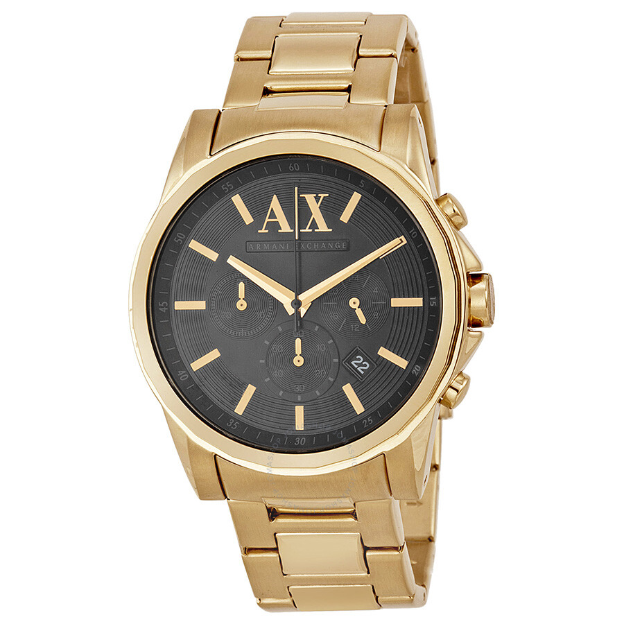 armani exchange banks chronograph black gold plated