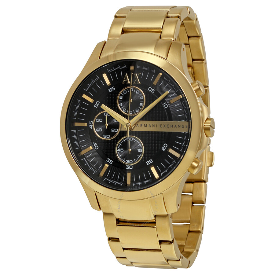 armani exchange black chronograph gold plated