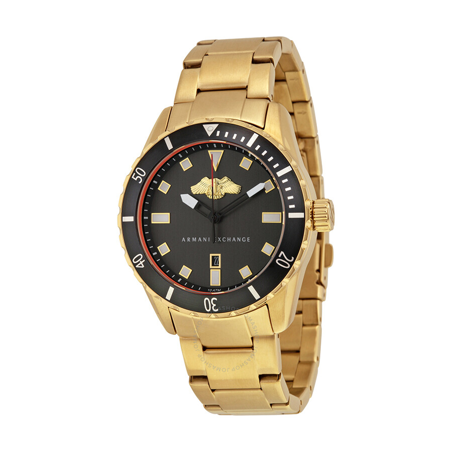 Armani exchange black dial gold plated men 39 s watch ax1710 armani exchange watches jomashop for Armani exchange watches