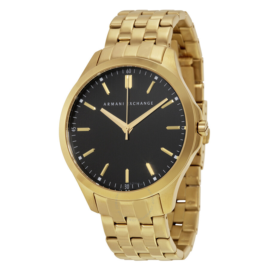 armani exchange black gold plated stainless steel