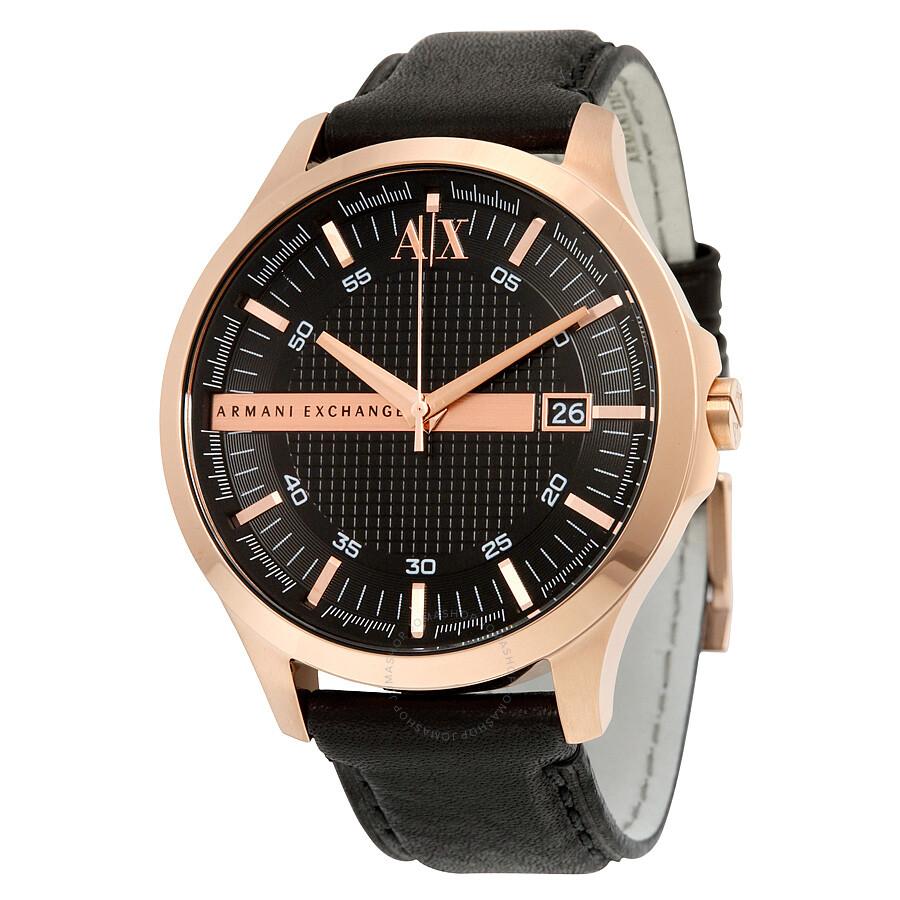 Armani Exchange Black Dial Leather Strap Men's Watch ...