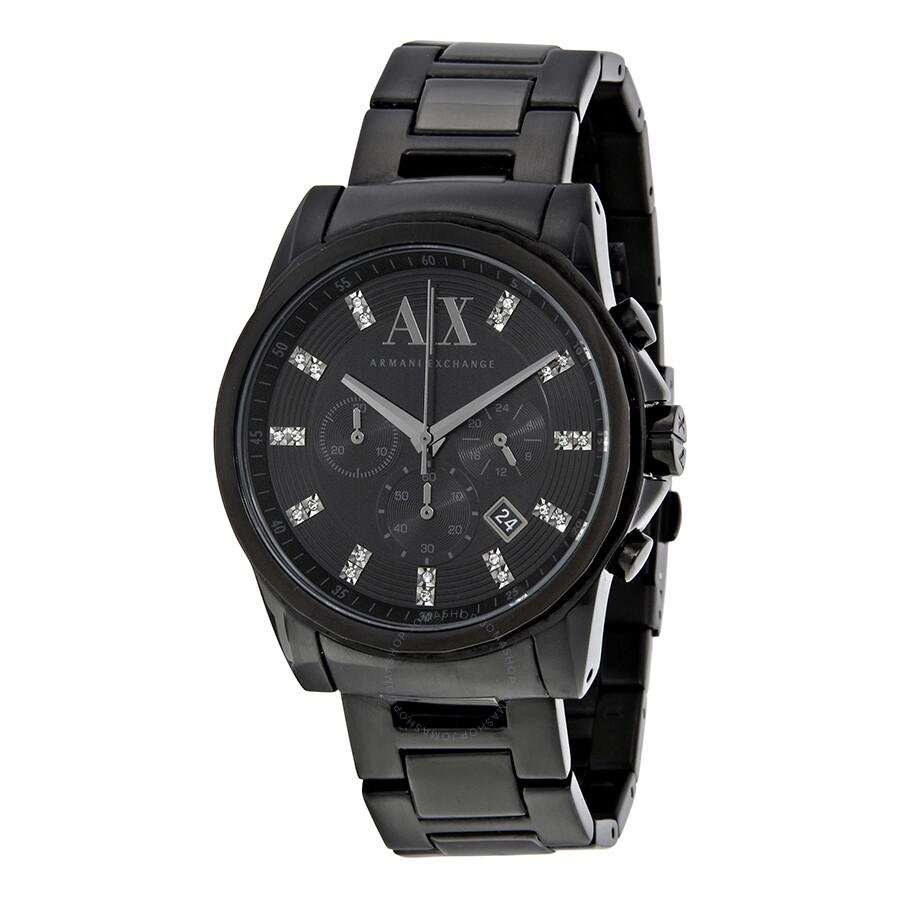 armani exchange black dial stainless steel men s watch ax2093