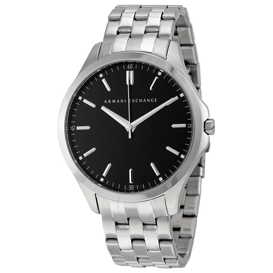 armani exchange black dial stainless steel men s watch ax2147