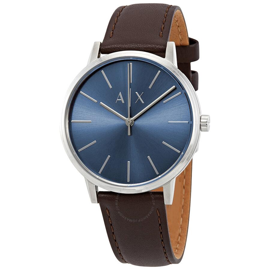cdaa303adac2 Armani Exchange Cayde Blue Dial Brown Leather Men s Watch AX2704 ...
