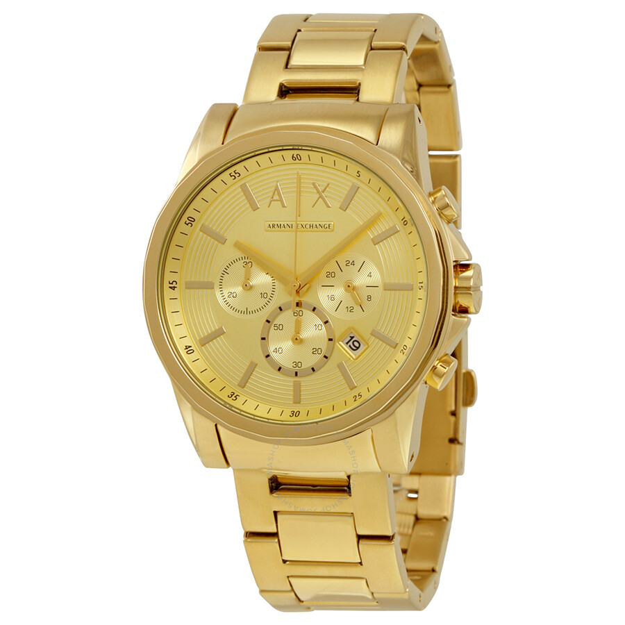 Armani exchange champagne dial chronograph men 39 s watch ax2099 armani exchange watches jomashop for Armani exchange watches