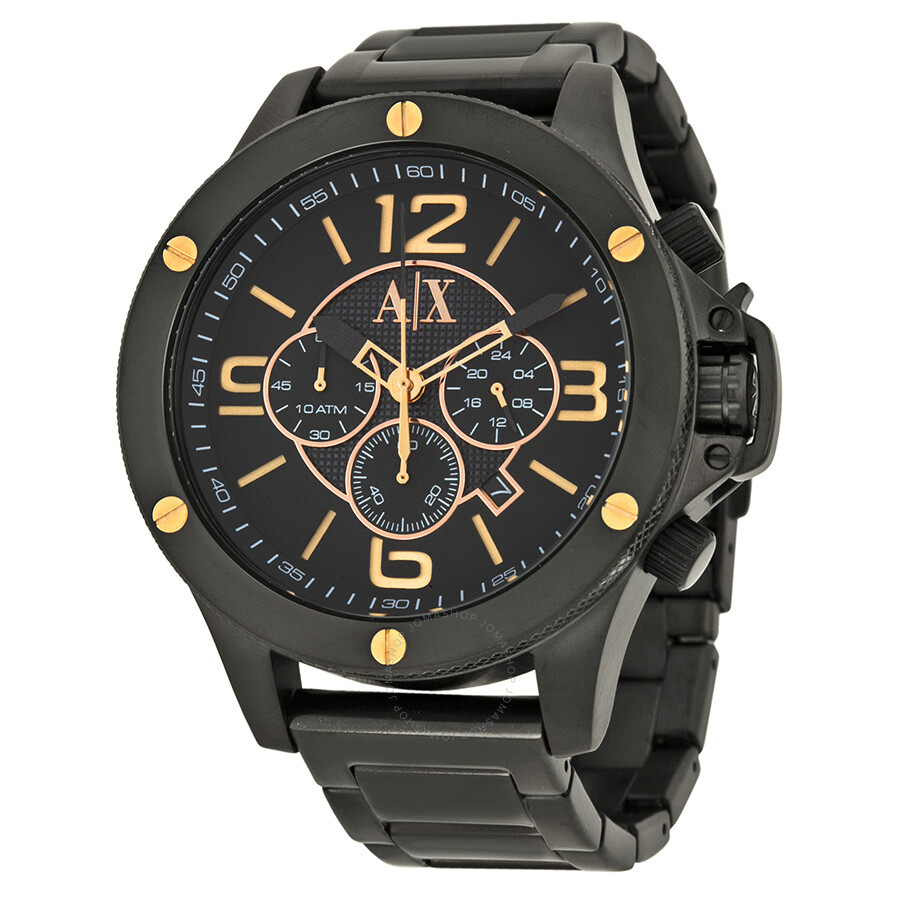 Armani exchange chronograph black dial black ion plated men 39 s watch ax1513 armani exchange for Armani exchange watches