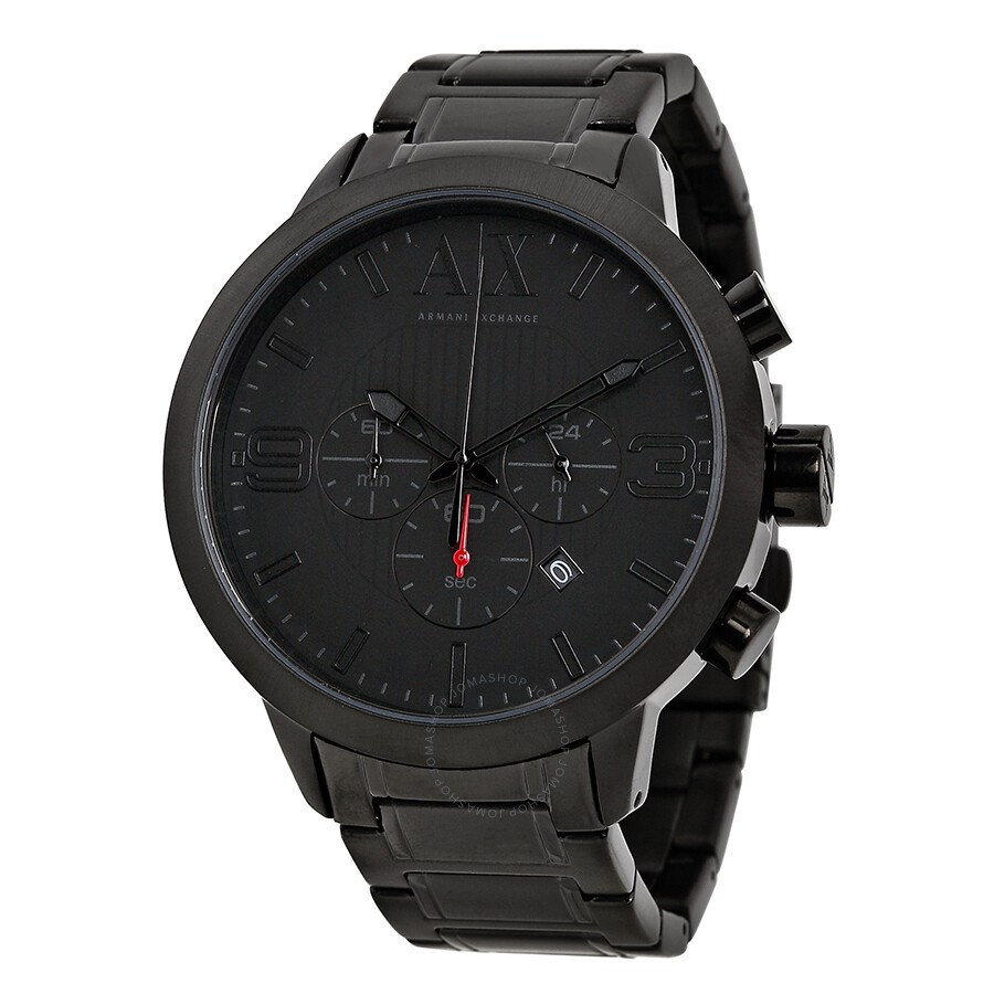 Armani exchange chronograph black dial black ion plated men 39 s watch ax1277 armani exchange for Armani exchange watches