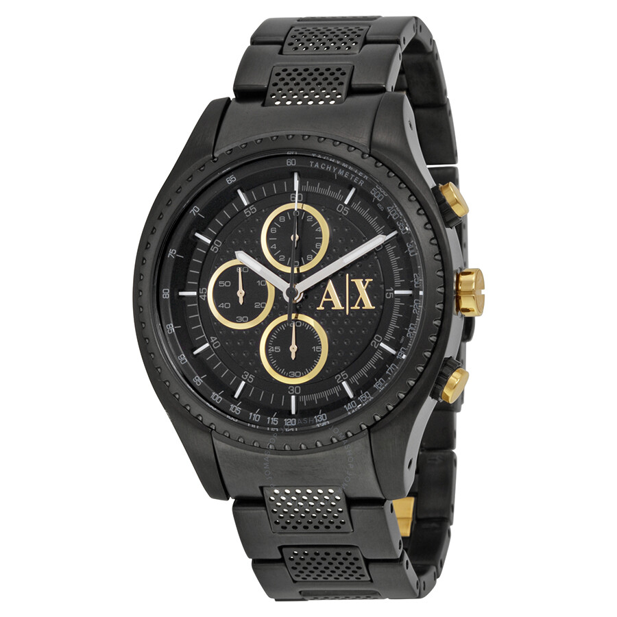 armani exchange chronograph black black ion plated
