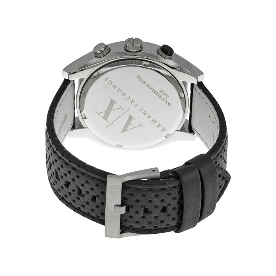 3bfa5a72cd0 ... Armani Exchange Chronograph Black Dial Black Perforated Leather Men s  Watch AX1600 ...