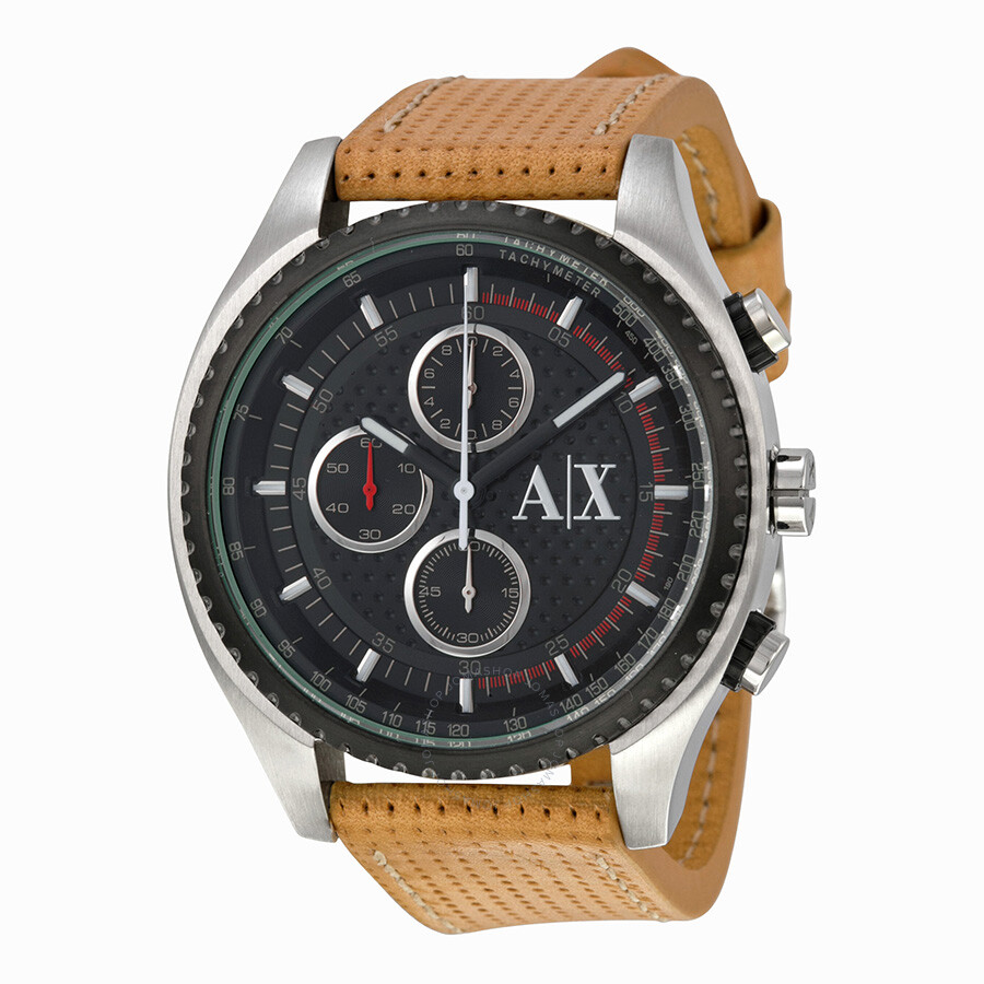 43c9b4eff74 Armani Exchange Chronograph Black Dial Brown Leather Men s Watch AX1608 ...