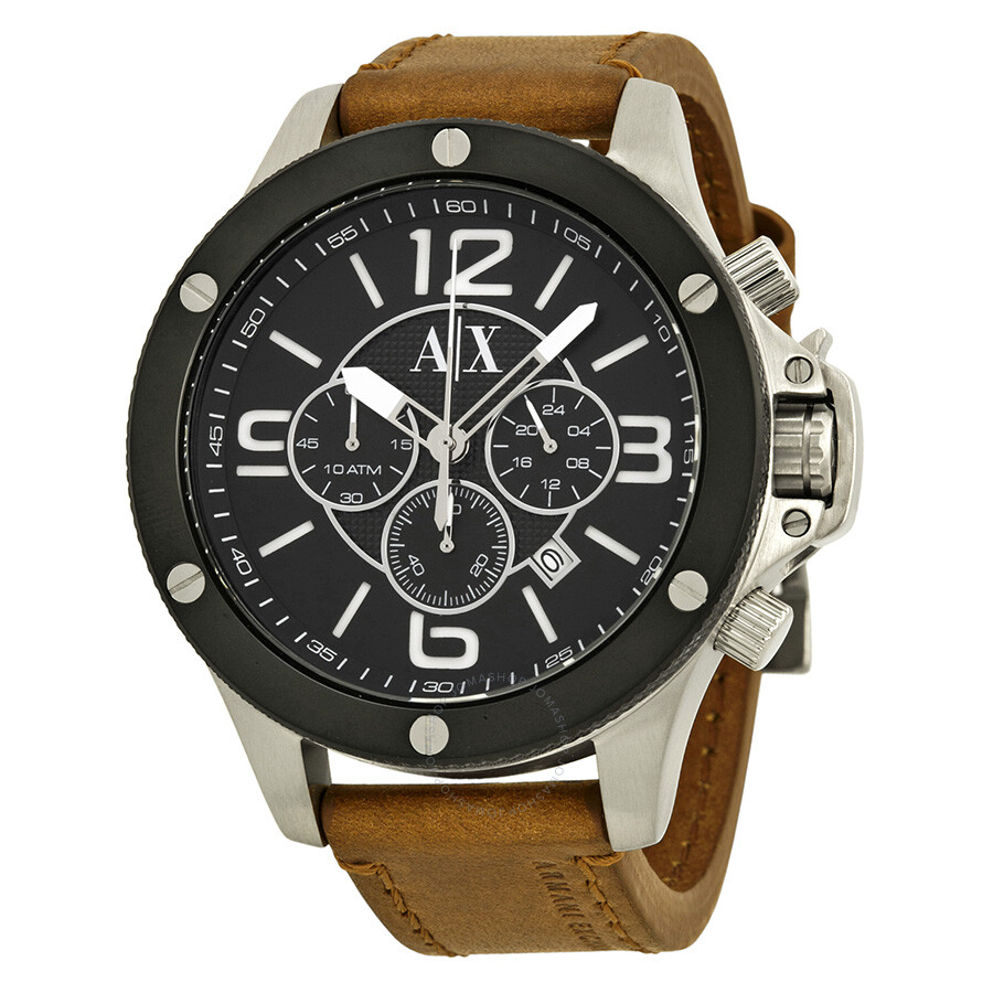 Armani exchange chronograph black dial brown leather men 39 s watch ax1509 armani exchange for Armani exchange watches