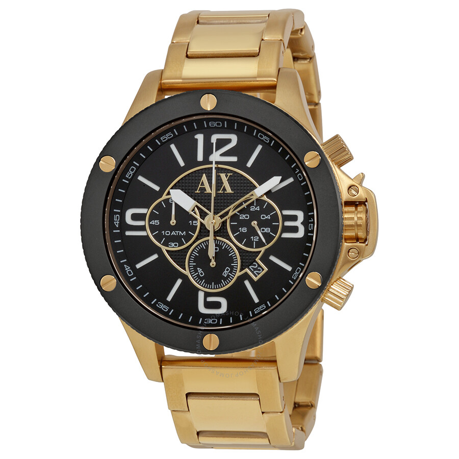 armani exchange chronograph black gold tone s