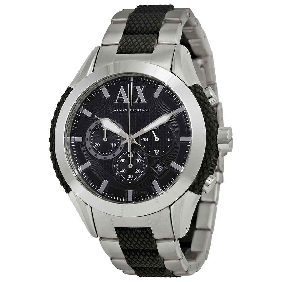Armani exchange chronograph black dial stainless steel and silicone men 39 s watch ax1214 armani for Armani exchange watches