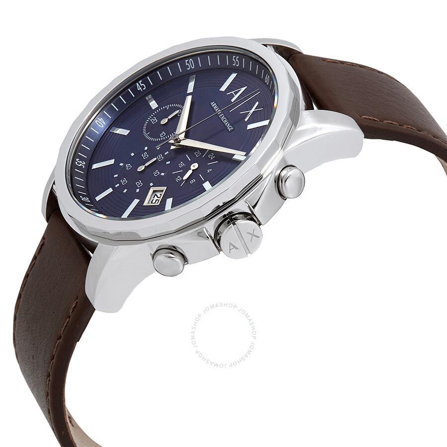 ... Armani Exchange Chronograph Blue Dial Brown Leather Men s Watch AX2501  ... 8970d6958e069