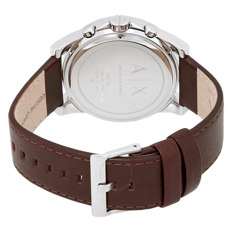 ... Armani Exchange Chronograph Blue Dial Brown Leather Men s Watch AX2501 58600c30b9079