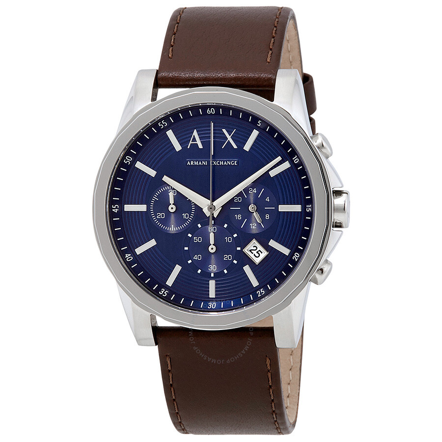 armani exchange chronograph blue brown leather s