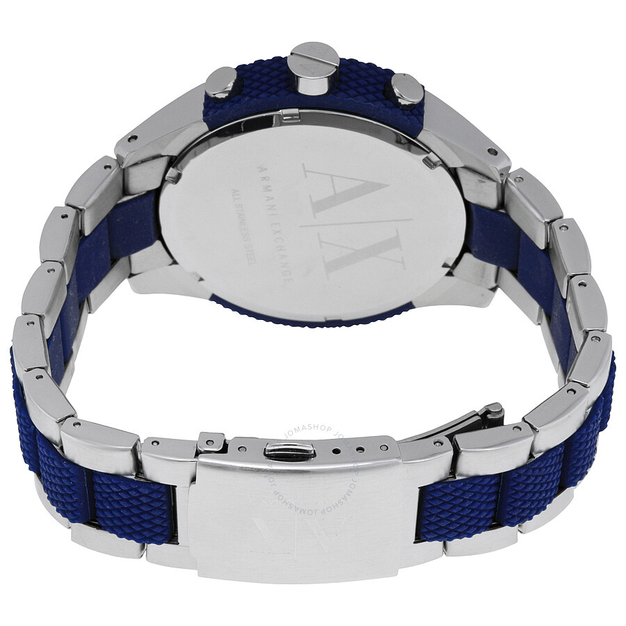 5ea4ed0edf33 ... Armani Exchange Chronograph Blue Dial Stainless Steel and Blue Silicone-wrapped  Men s Watch AX1386