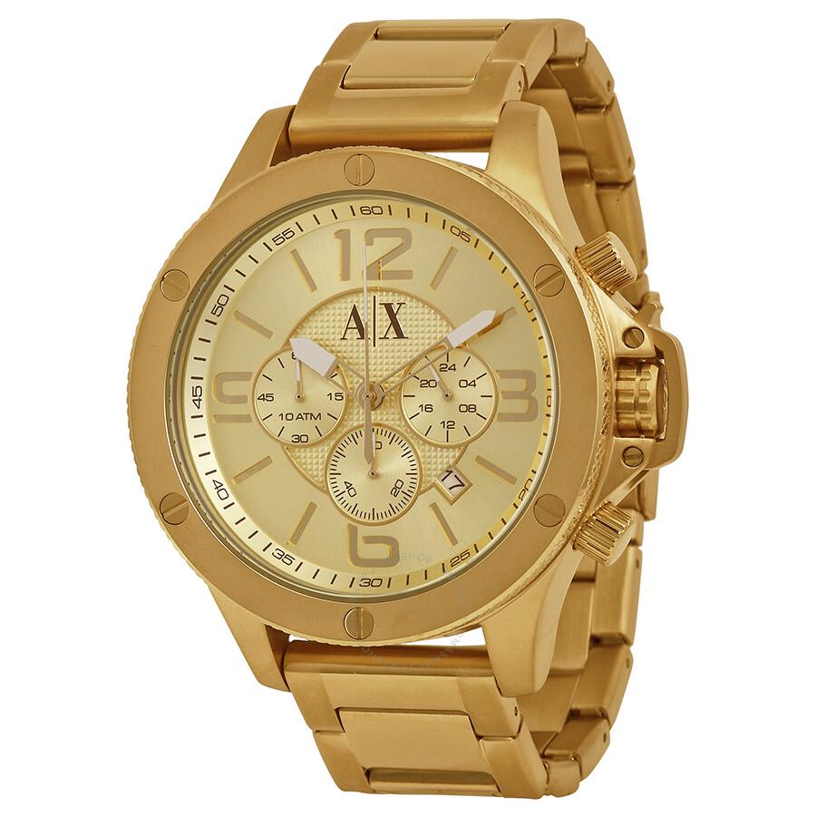 armani exchange champagne dial chronograph men s watch ax1504