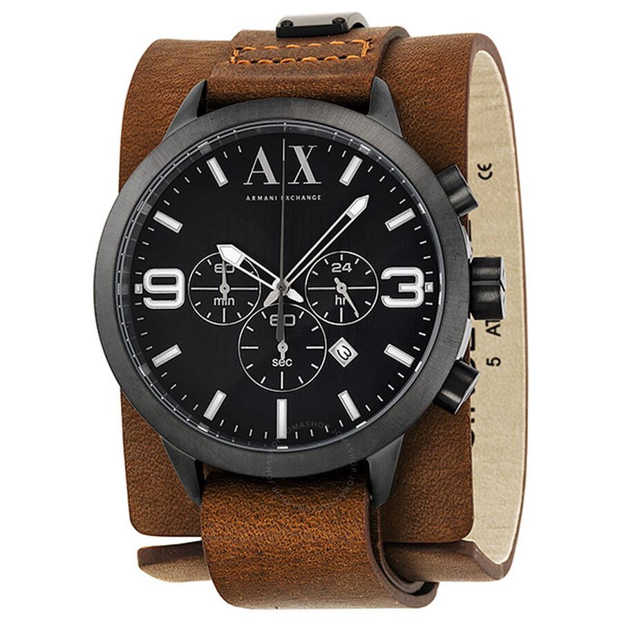 da9cbcbacf6cc Armani Exchange Chronograph Dark Blue Dial Brown Leather Cuff Men s Watch  AX1274 ...
