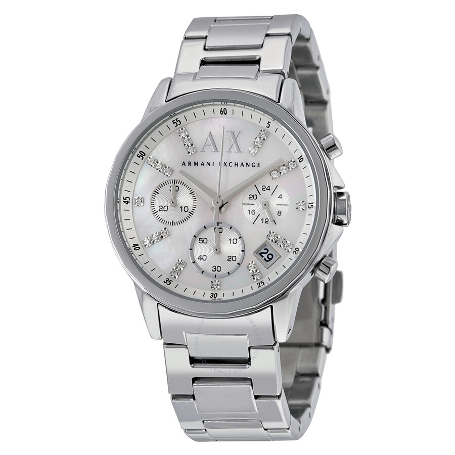 Armani exchange chronograph silver dial stainless steel ladies watch ax4324 armani exchange for Armani exchange watches