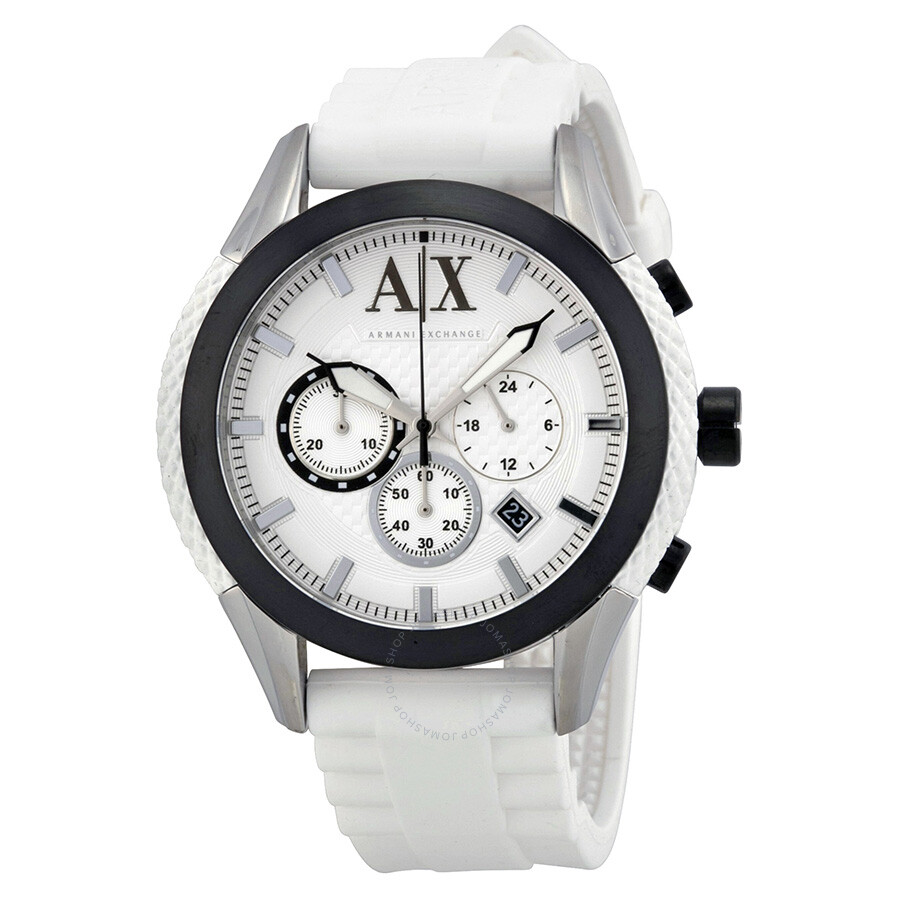 561ebb426e59 Armani Exchange Chronograph White Dial White Silicone Men s Watch AX1225 ...