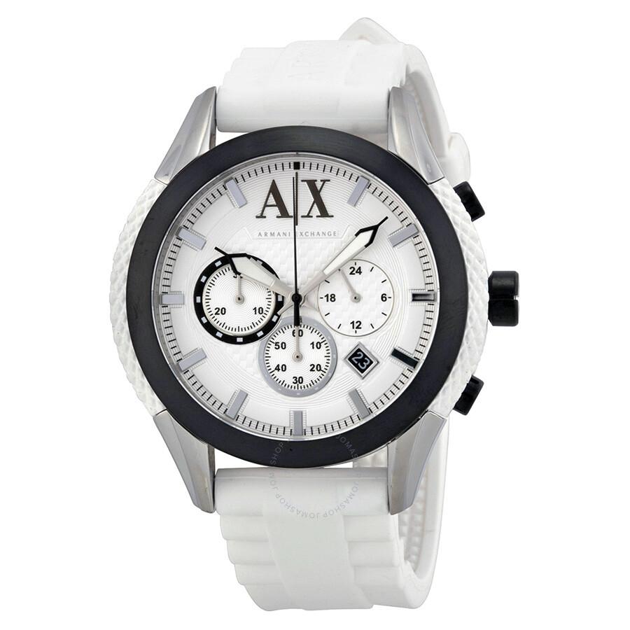 armani exchange chronograph white white silicone