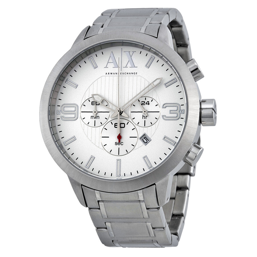 armani exchange chronohraph silver dial stainless steel men 39 s watch ax1278 armani exchange