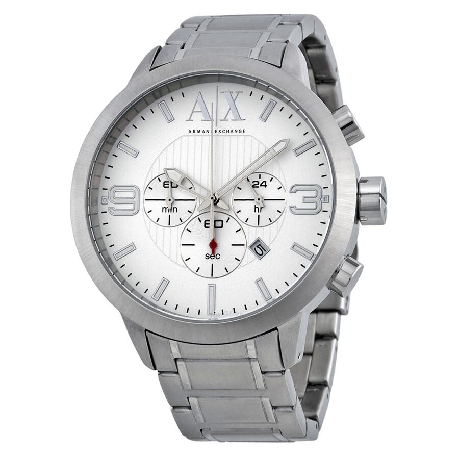 3754b687b686 Armani Exchange Chronohraph Silver Dial Stainless Steel Men s Watch AX1278  ...