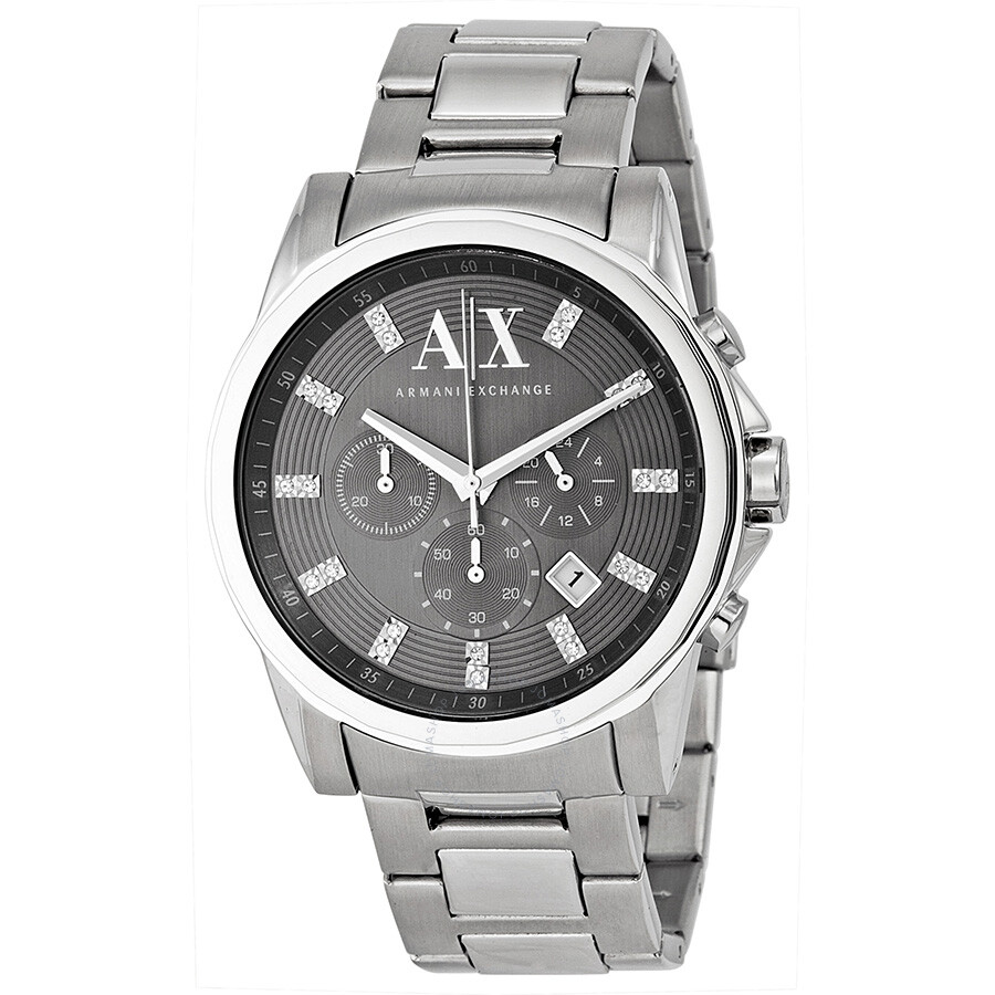 Armani exchange grey dial stainless steel men 39 s watch ax2092 armani exchange watches jomashop for Armani exchange watches
