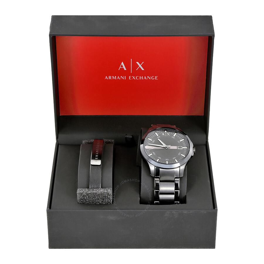 Armani Exchange Hampton Black Dial Men s Gift Set AX7101 - Armani ... 6e514289f6