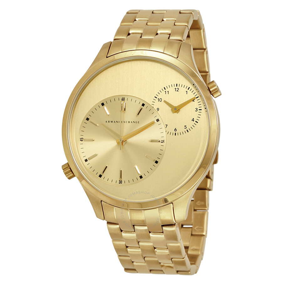 armani exchange hton gold tone s dual time