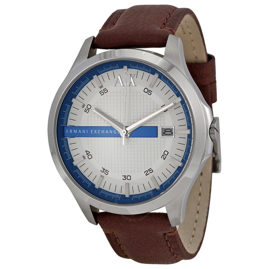 02327b6443c Armani Exchange Hampton White Textured Dial Brown Leather Men s Watch  AX2134 ...