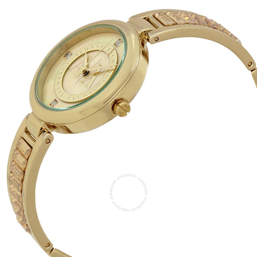 Armani exchange julietta gold tone dial ladies bangle watch ax4232 armani exchange watches for Ladies bangle watch
