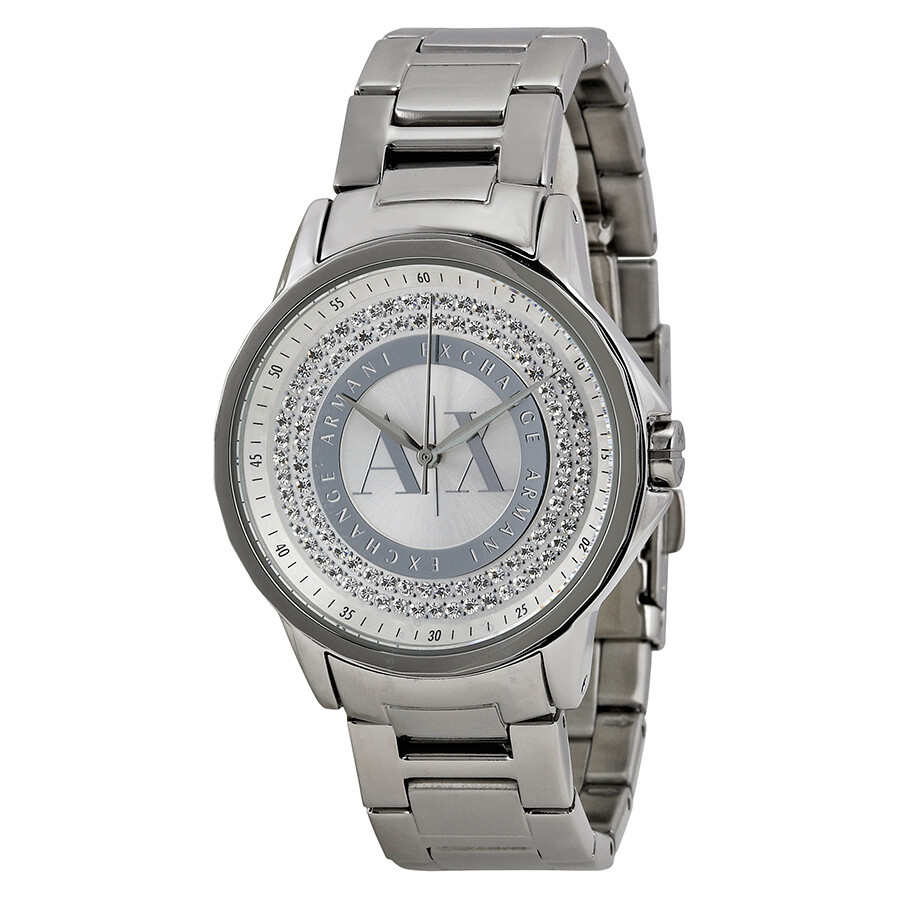 Armani exchange julietta silver dial stainless steel ladies watch ax4320 armani exchange for Armani exchange watches