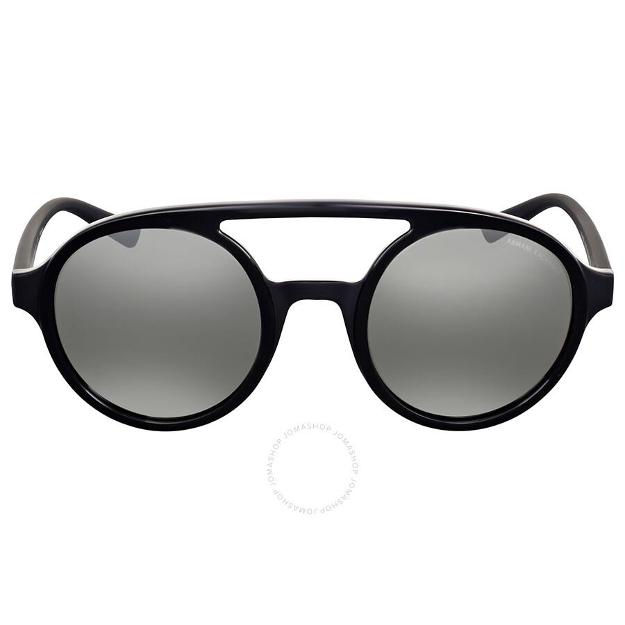 63c66a952e Armani Exchange Light Grey Mirror Aviator Sunglasses Item No.  AX4060S-82116G-50