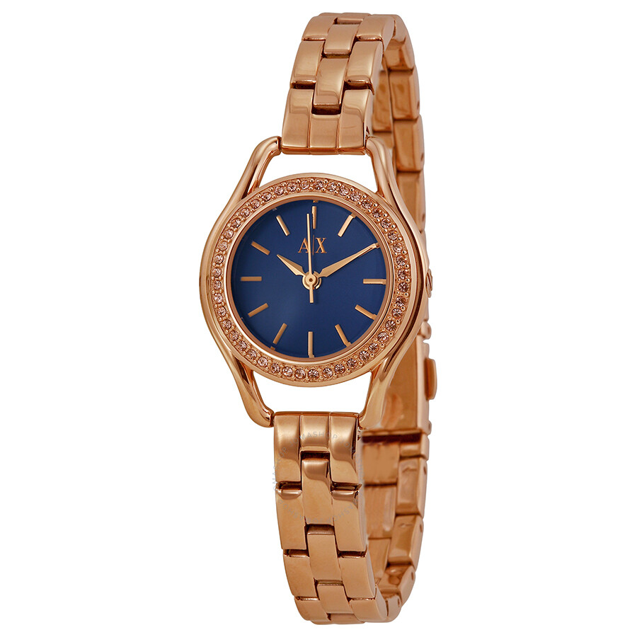 Armani Exchange Navy Blue Dial Rose Gold Plated Ladies Watch Ax4258