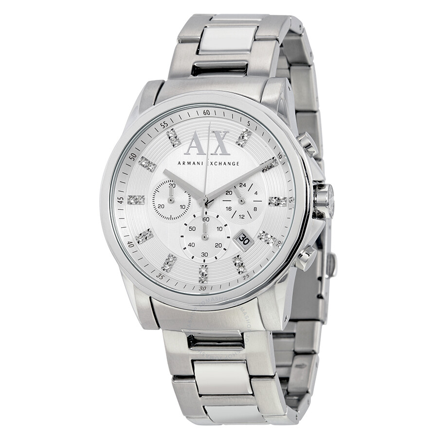 Armani exchange outer banks chronograph silver dial stainless steel men 39 s watch ax2505 armani for Armani exchange watches
