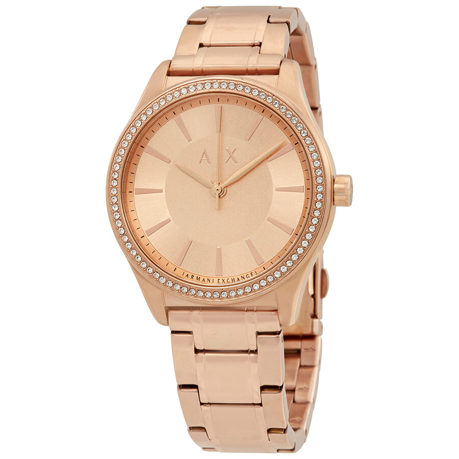 Armani Exchange Rose Gold Dial Ladies Dress Watch AX5442 - Armani ...