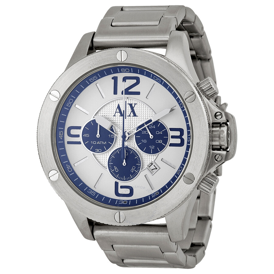 Armani exchange silver and blue dial chronograph men 39 s watch ax1502 armani exchange watches for Armani exchange watches