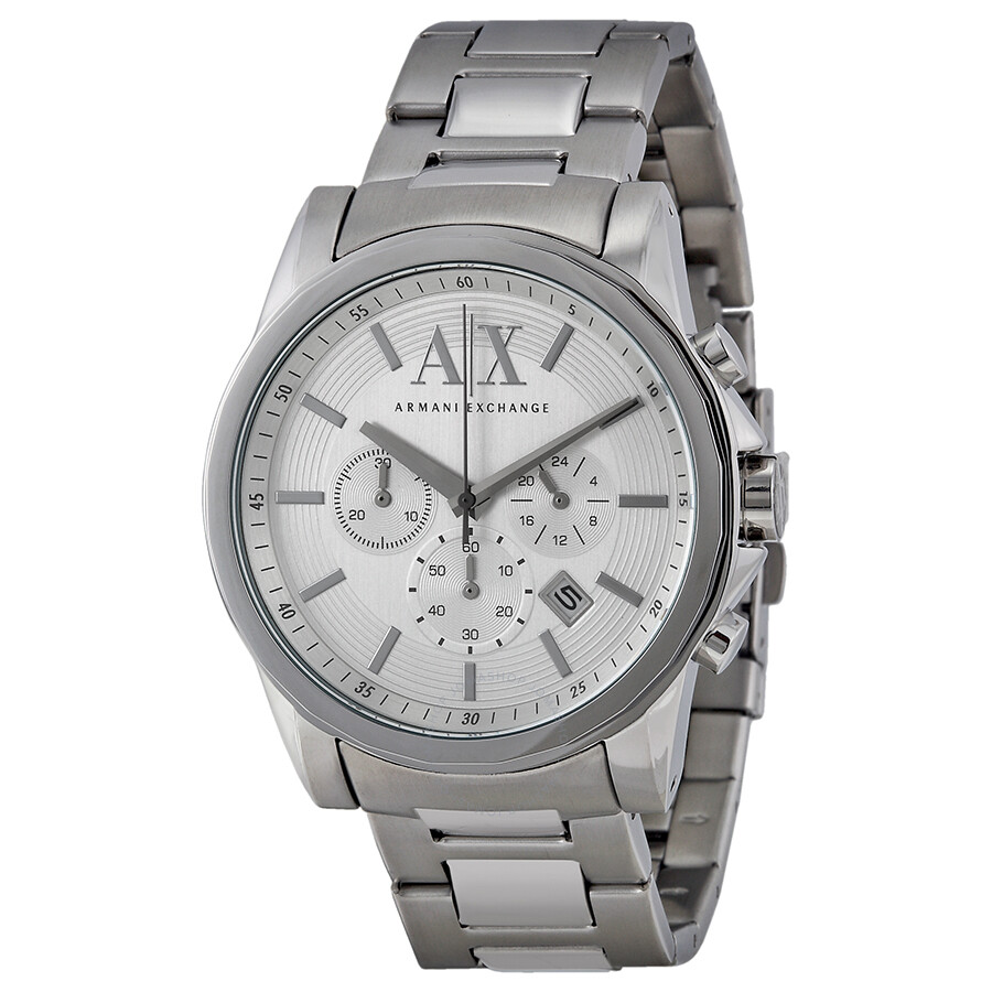 Armani exchange silver tone dial chronograph men 39 s watch ax2058 armani exchange watches for Armani exchange watches