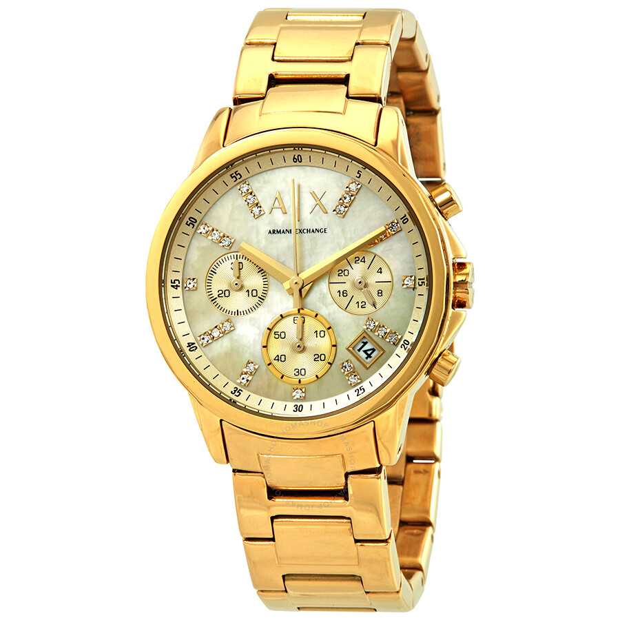 382c86ab8 Armani Exchange Smart Chronograph Gold Dial Ladies Watch AX4327 ...