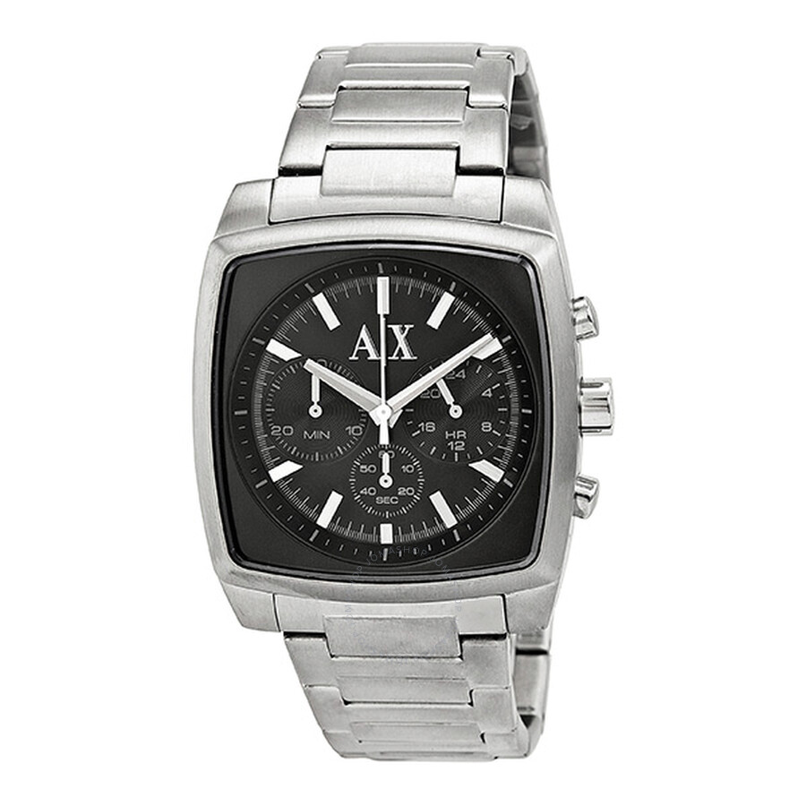 9a05c1682ee Armani Exchange Stockton Chronograph Black Dial Stainless Steel Men s Watch  AX2253 ...