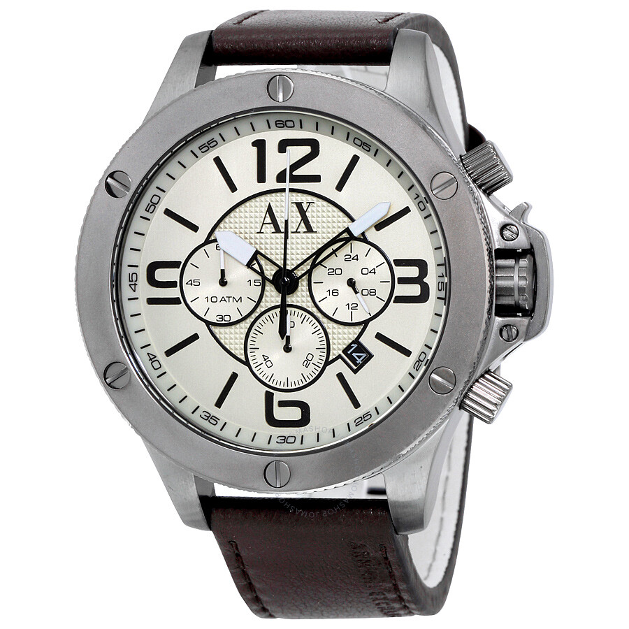 Armani exchange wellworn taupe dial brown leather men 39 s chronograph watch ax1519 armani for Armani exchange watches