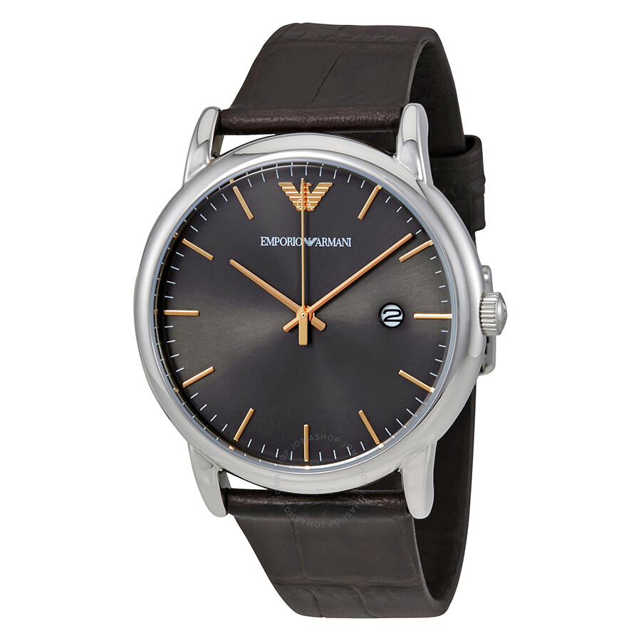 208b1f83cd1b Emporio Armani Luigi Grey Dial Dark Brown Leather Men s Watch