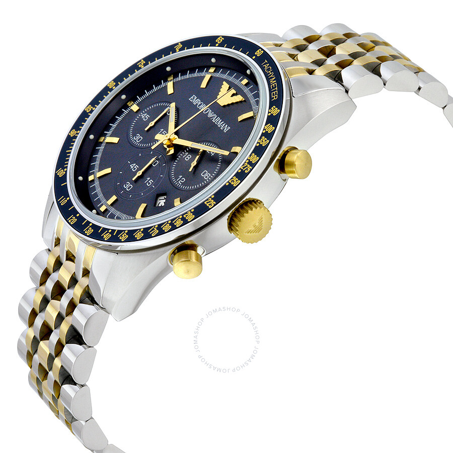 armani navy blue chronograph two tone stainless steel