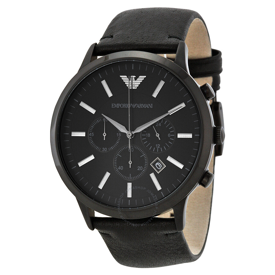 emporio armani sportivo chronograph black s