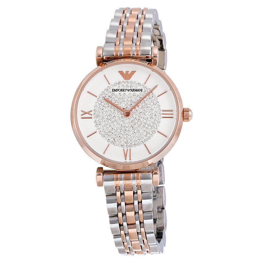 9ecea72b0b77 Armani White Crystal Pave Dial Two-tone Ladies Watch AR1926 ...
