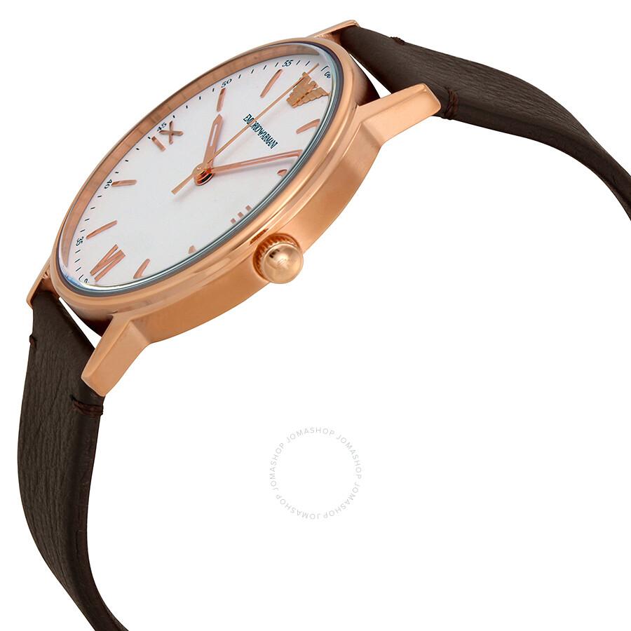 ... Emporio Armani Kappa White Dial Dark Brown Leather Men's Watch AR11011  ...